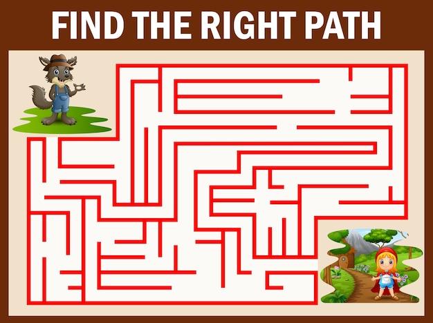 Jogo de labirinto encontra o caminho do lobo chegar a menina de capuz vermelho