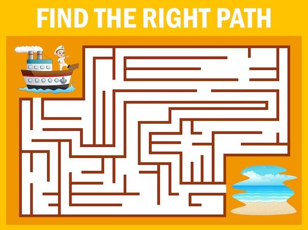 Jogo de labirinto encontra o caminho do navio chegar ao oceano