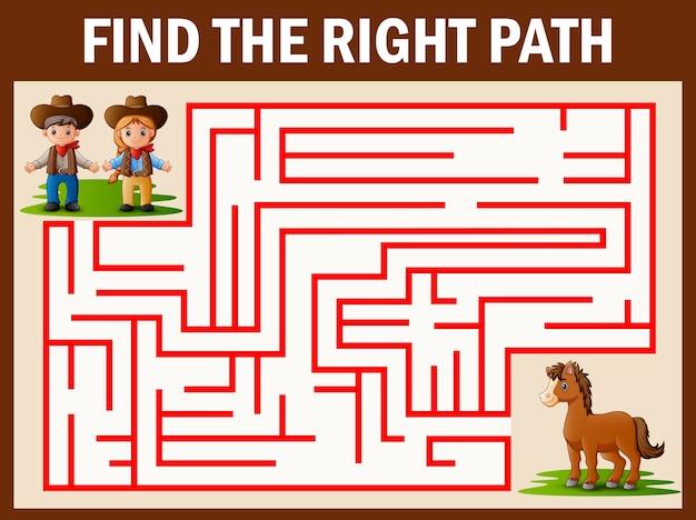 Jogo de labirinto encontra o cowboy e vaqueira caminho para o cavalo