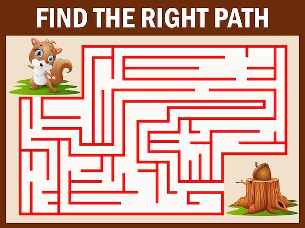 Jogo de labirinto encontra o esquilo ir embora para nogueira