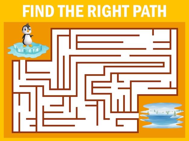 Jogo de labirinto encontrar pinguim a pé para o pólo