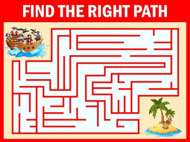Jogo de labirinto encontrar um caminho de grupo de piratas para a ilha do tesouro
