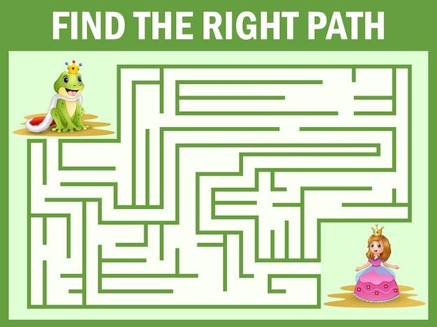 Jogo de labirinto encontrar um caminho de príncipes sapo para princesa