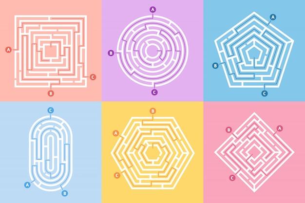 Jogo de labirinto, enigma do labirinto, rebus de labirinto e muitos conjunto de conceito de enigma de entrada