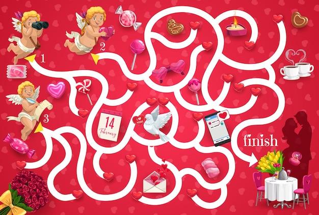Jogo de labirinto infantil com cupidos para o dia dos namorados e um casal apaixonado se beijando