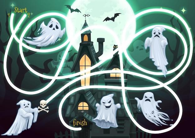 Jogo de labirinto infantil com personagens fantasmas de halloween