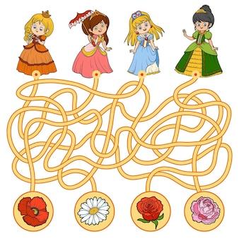 Jogo de labirinto, jogo educativo para crianças. princesinha e flores