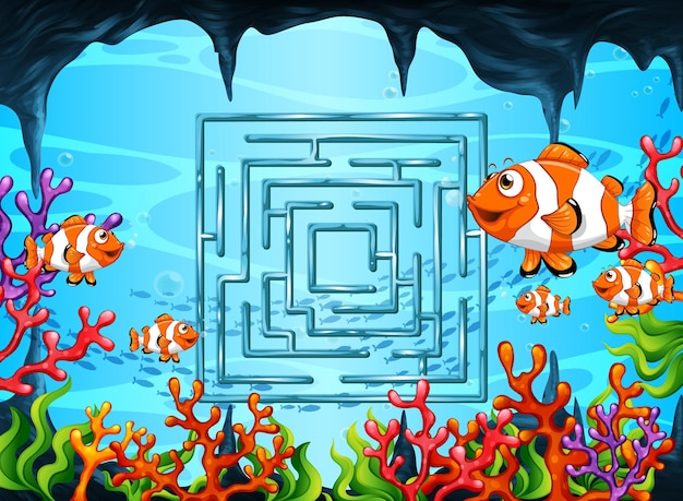 Jogo de labirinto no modelo de tema subaquático
