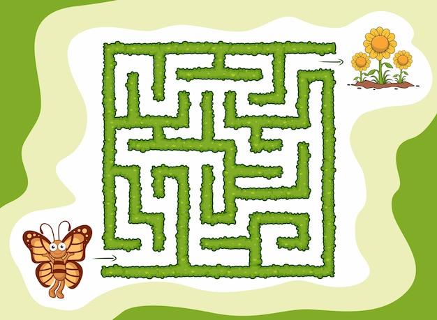 Jogo de labirinto para crianças ajuda borboleta a encontrar flores