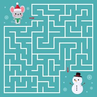 Jogo de labirinto para crianças. ajude o mouse kawaii a encontrar o caminho certo para o boneco de neve.