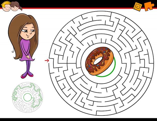 Jogo de labirinto para crianças com menina e donut