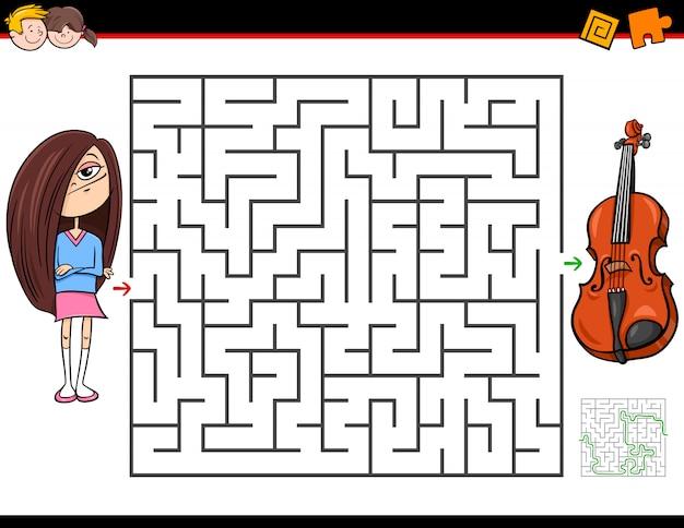 Jogo de labirinto para crianças com menina e violino