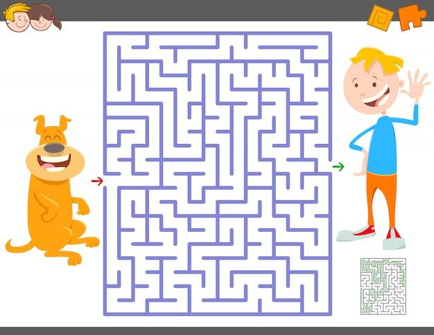 Jogo de labirinto para crianças com menino e seu cachorro