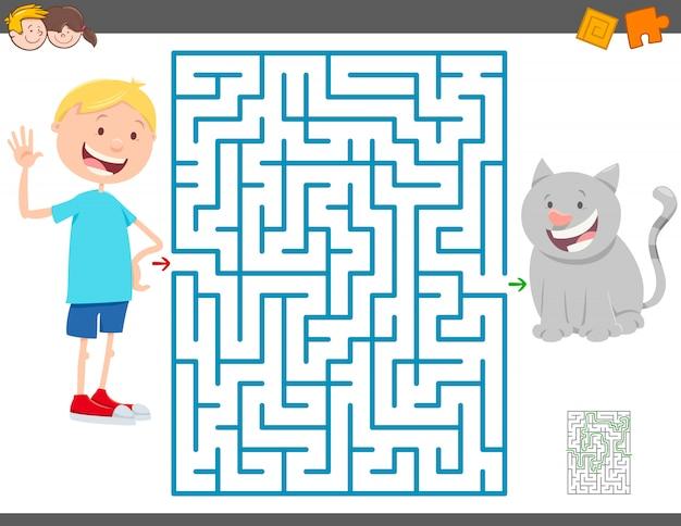 Jogo de labirinto para crianças com menino e seu gato