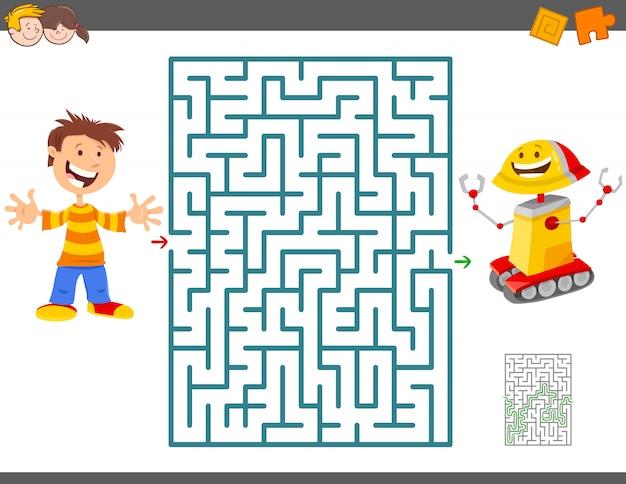 Jogo de labirinto para crianças com menino e seu robô de brinquedo