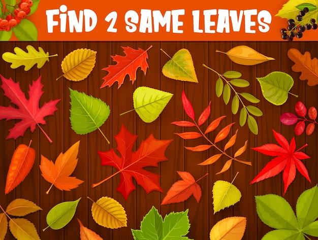 Jogo de labirinto para crianças, encontre duas mesmas folhas outonais