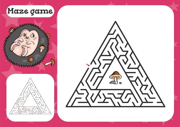 Jogo de labirinto para crianças ilustração de planilha de desenho bonito