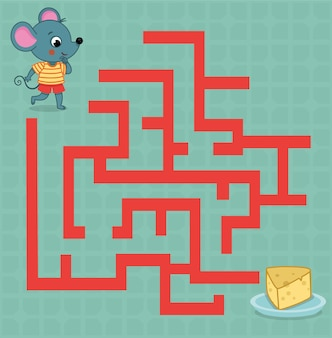 Jogo de labirinto para crianças ilustração em vetor de um rato e um prato de queijo