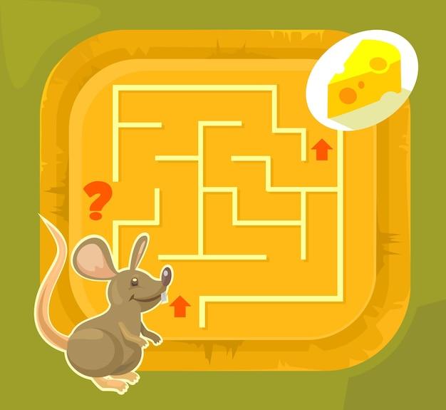 Jogo de labirinto para crianças, ilustração plana dos desenhos animados