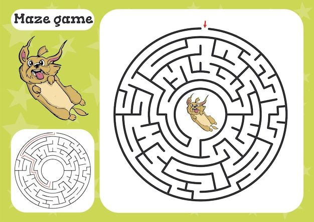 Jogo de labirinto para crianças - planilha de desenho animado