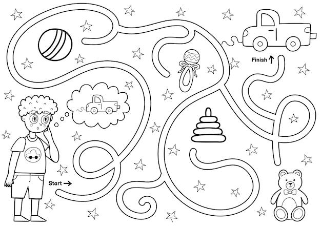 Jogo de labirinto preto e branco para crianças ajude o garotinho a encontrar o caminho para o carro de brinquedo atividade de labirinto para impressão para crianças