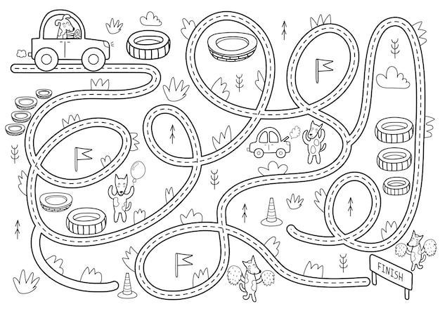 Jogo de labirinto preto e branco para crianças ajude o lindo cão a dirigir para terminar a atividade do labirinto para impressão para crianças Vetor Premium