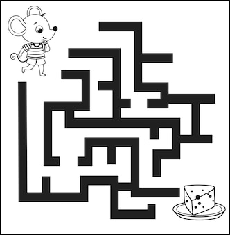 Jogo de labirinto preto e branco para crianças ilustração em vetor de um rato e um prato de queijo
