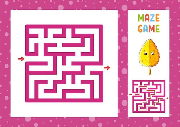 Jogo de labirinto quadrado para crianças