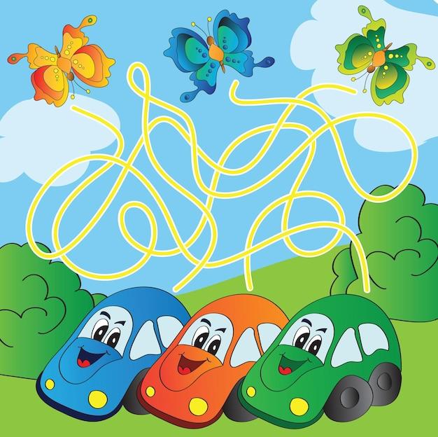 Jogo de labirinto vetorial com carros engraçados - encontre o caminho