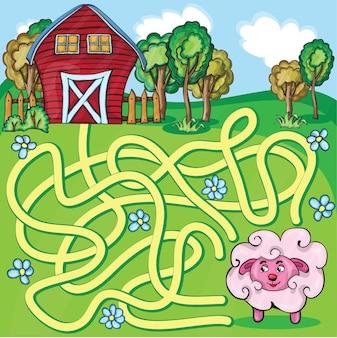Jogo de labirinto vetorial com desenhos animados engraçados ovelhas