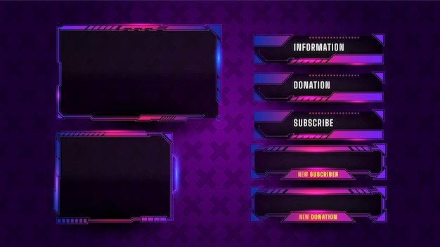 Jogo de layout de painel de streaming