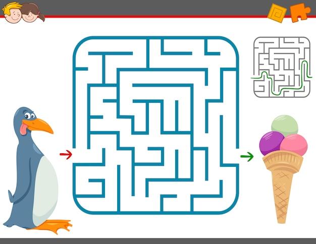 Jogo de lazer labirinto com pinguim