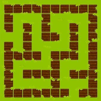 Jogo de lógica labyrinth education, chão de canteiros de jardim. v