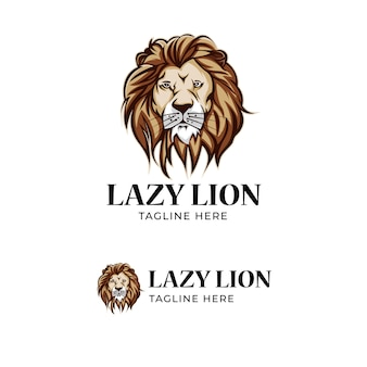 Jogo de logotipo de cabeça de leão preguiçoso