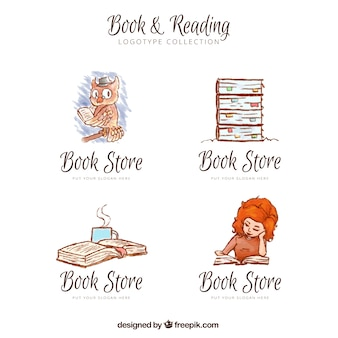 Jogo de logotipos da livraria pintados à mão