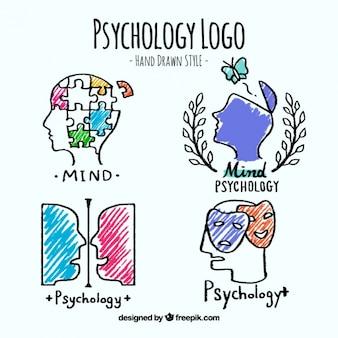 Jogo de logotipos de psicologia no estilo desenhado mão