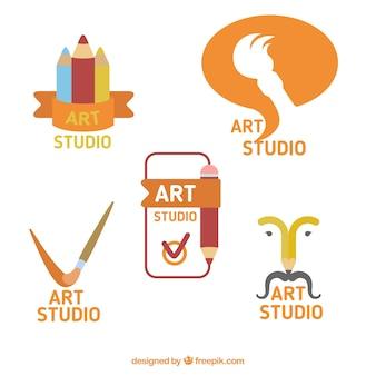 Jogo de logotipos do estúdio bela arte