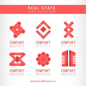 Jogo de logotipos imobiliários vermelhas e planas