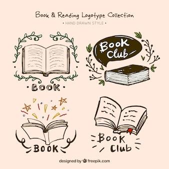 Jogo de logotipos livro mão desenhada