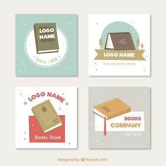 Jogo de logotipos livro no design plano