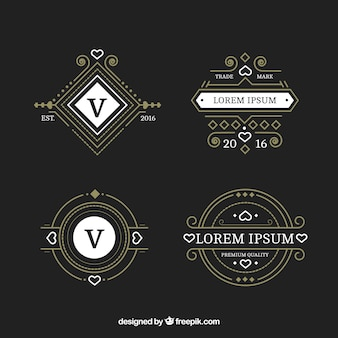 Jogo de logotipos ornamentais no estilo do vintage