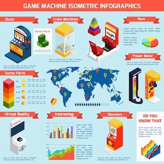 Jogo de máquinas de diversões isométrica infographics banner