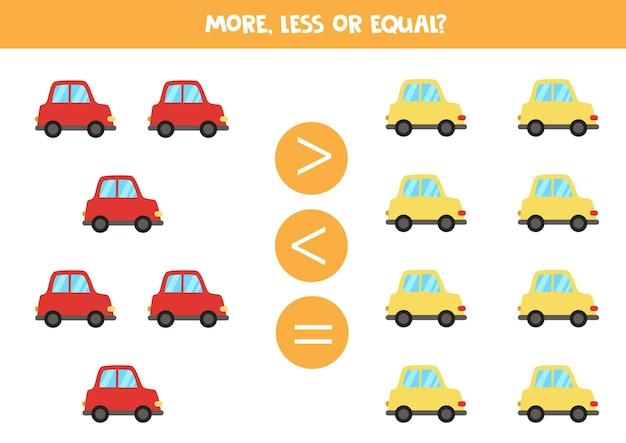 Jogo de matemática com carros coloridos de desenho animado