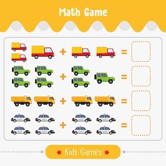 Jogo de matemática com imagens para crianças, jogo de educação de nível fácil para crianças pré-escolares. Vetor Premium
