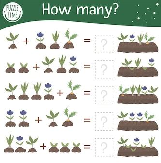Jogo de matemática com plantas na cama