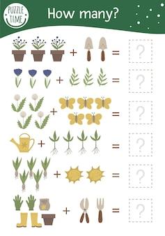 Jogo de matemática com símbolos de jardim