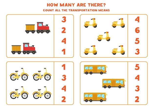 Jogo de matemática. conte todos os meios de transporte. jogos temáticos de transporte.