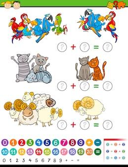 Jogo de matemática de educação de desenhos animados