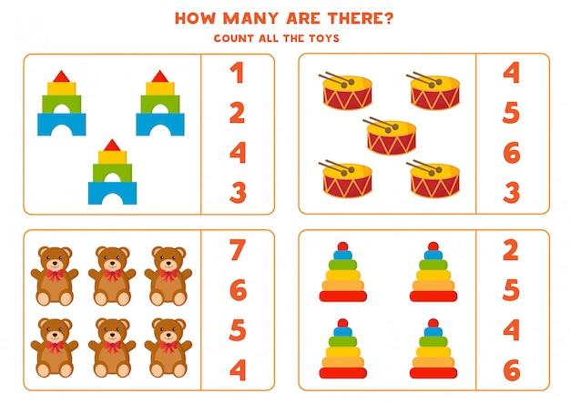 Jogo de matemática educacional para crianças. conjunto de brinquedos coloridos de bonito dos desenhos animados.