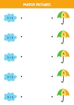 Jogo de matemática para crianças em idade pré-escolar. adição para crianças. combine nuvens e guarda-chuvas.